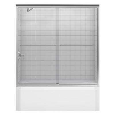 Fluence 59-5/8 in. x 58-5/16 in. Heavy Semi-Frameless Sliding Bathtub Door in Brushed Nickel with Clear Glass