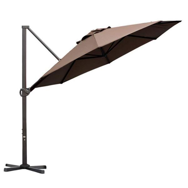 11 ft. Cantilever Push Tilt Patio Umbrella in Cocoa
