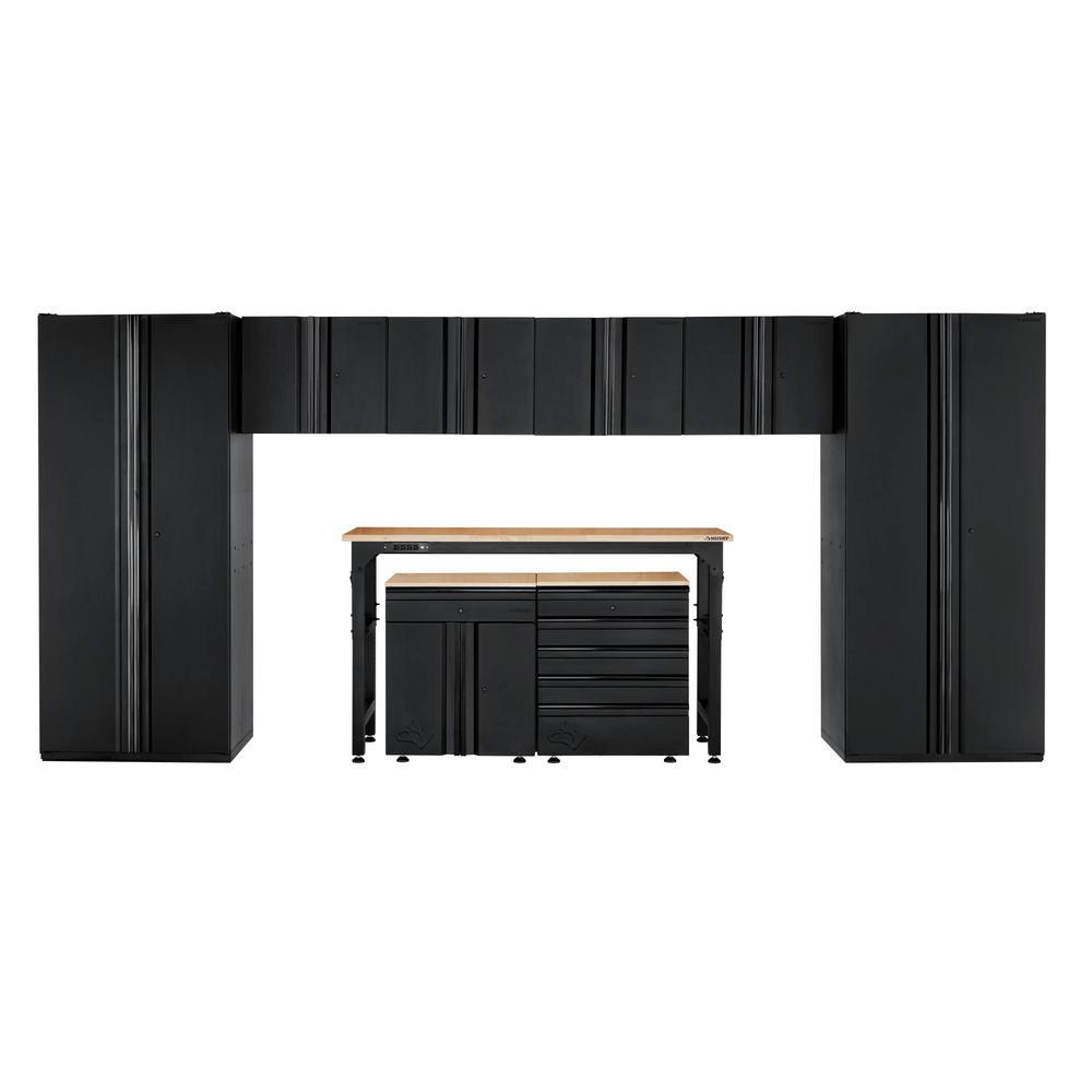 Husky Heavy Duty Welded 184 in. W x 81 in. H x 24 in. D Steel Garage Cabinet Set in Black (9-Piece)