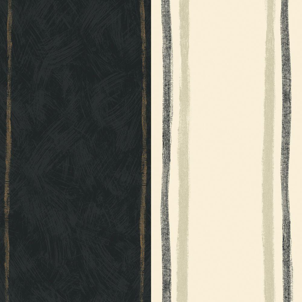 The Wallpaper Company 8 in. x 10 in. Black and Cream Large Graphic Stripe Wallpaper Sample
