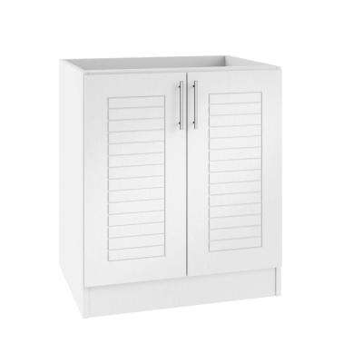 Assembled 30x34.5x24 in. Key West Open Back Outdoor Kitchen Base Cabinet with 2 Full Height Doors in Radiant White
