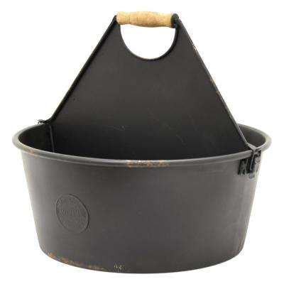 12.25 in. x 13.25 in. Metal Planter in Black