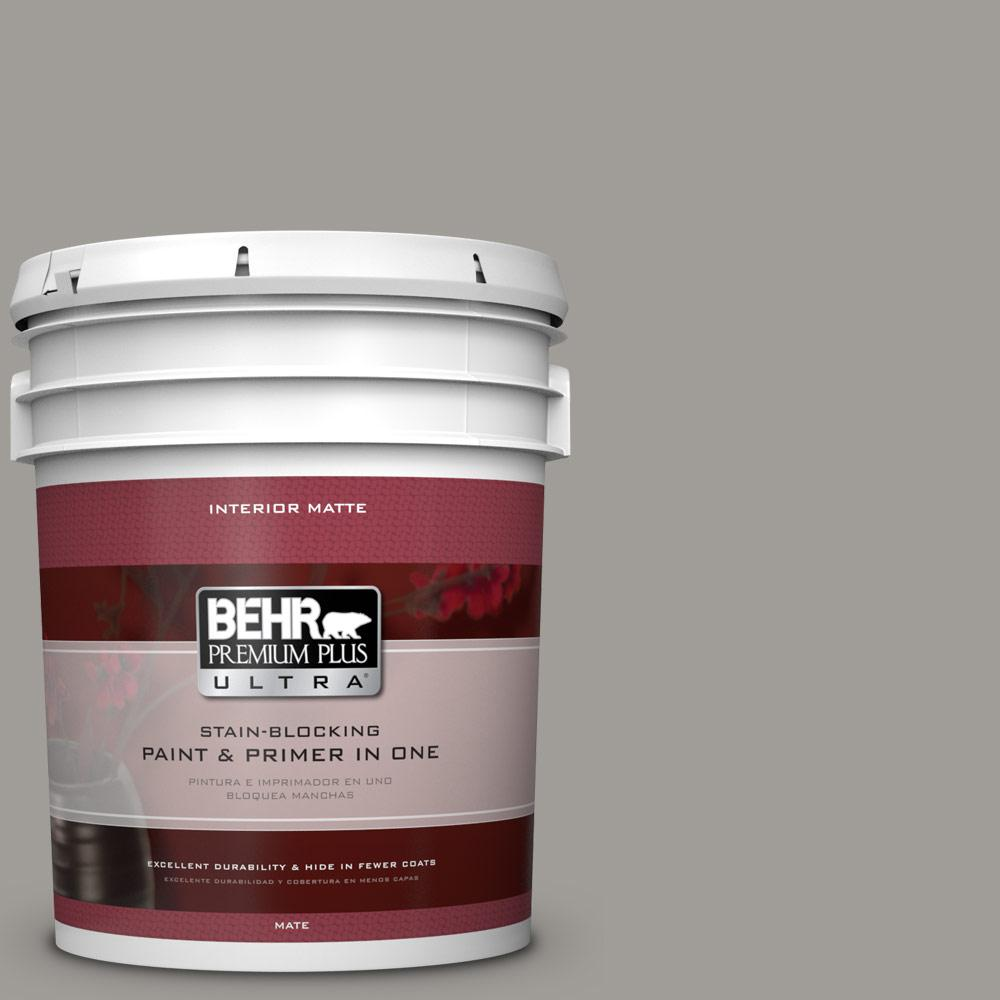 5 gal. #BNC-17 Casual Gray Matte Interior Paint and Primer in