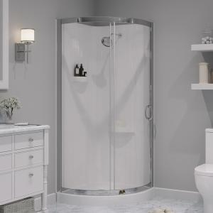Breeze 32 in. L x 32 in. W x 76 in. H Corner Shower Kit with Reversible Sliding Door and Shower Base