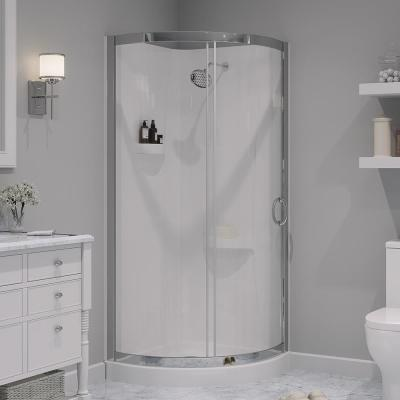 Breeze 32 in. x 32 in. x 76 in. Shower Kit with Reversible Sliding Door and Shower Base