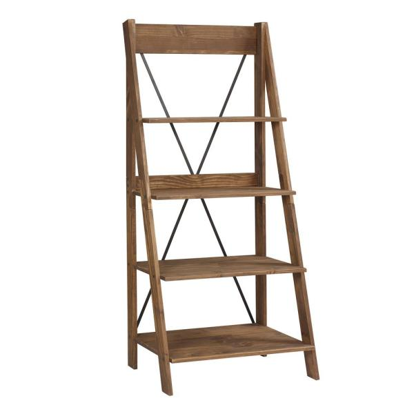 Welwick Designs 68 In Brown Wood 4 Shelf Ladder Bookcase With Open Back Hd8224 The Home Depot