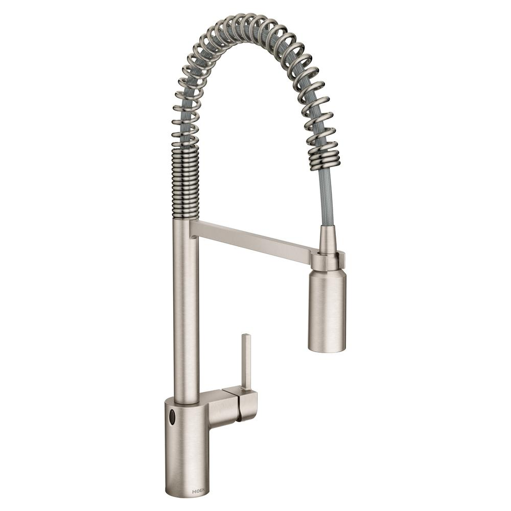 MOEN Align Touchless Single-Handle Pull-Down Sprayer Kitchen Faucet with  MotionSense Wave and Spring in Spot Resist Stainless