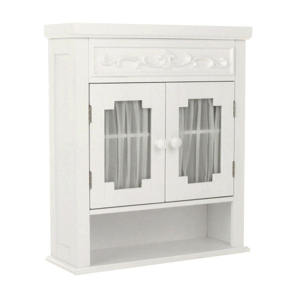 Elegant Home Fashions Drapery 21 in. W x 24-1/10 in. H x 7 in. D Bathroom Storage Wall Cabinet in White