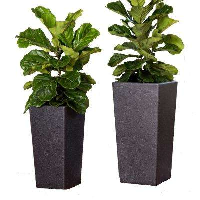 Xbrand 29 in. Tall and 24 in. Tall Black Modern Nested Square Flower Concrete Pot Planter (Set of 2 Different Sizes)