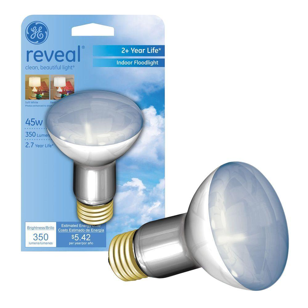 GE Reveal 45-Watt Halogen R20 Indoor Flood Light Bulb-45R20H/RVL/CD ...