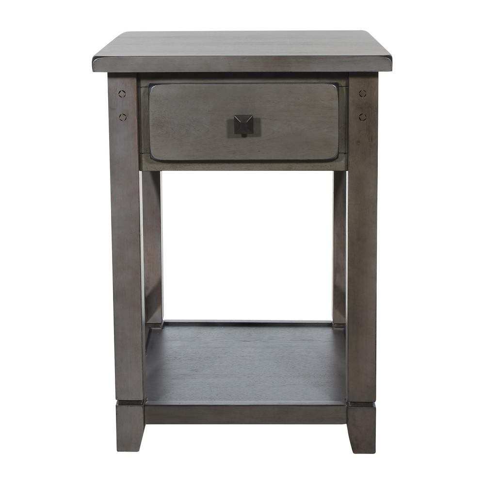 OSP Home Furnishings Hillsboro End Table in Grey Wash, Gray Wash OSP Home Furnishings Hillsboro End Table in Grey Wash, Gray Wash