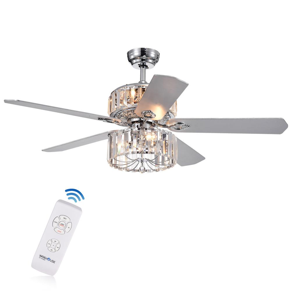 Warehouse of Tiffany Perris 52 in. Indoor Chrome Ceiling Fan with Light Kit and Remote Control