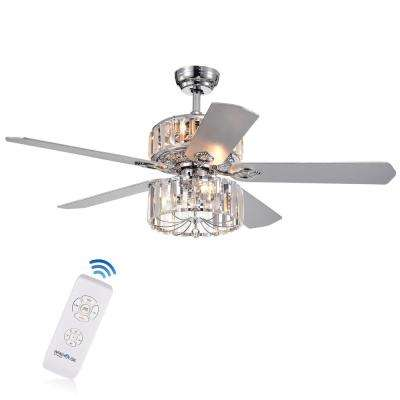 Perris 52 in. Indoor Chrome Ceiling Fan with Light Kit and Remote Control
