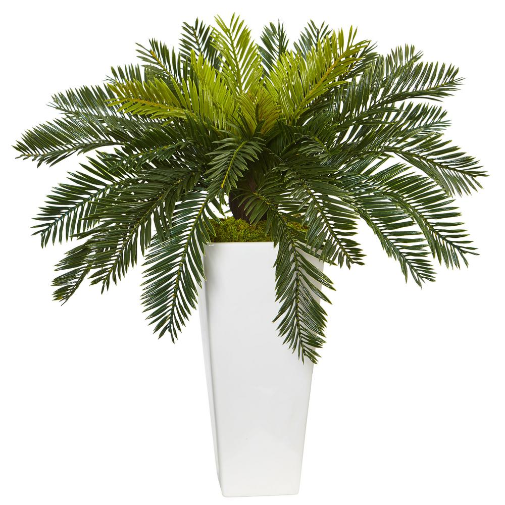 Indoor Cycas Artificial Plant in White Planter