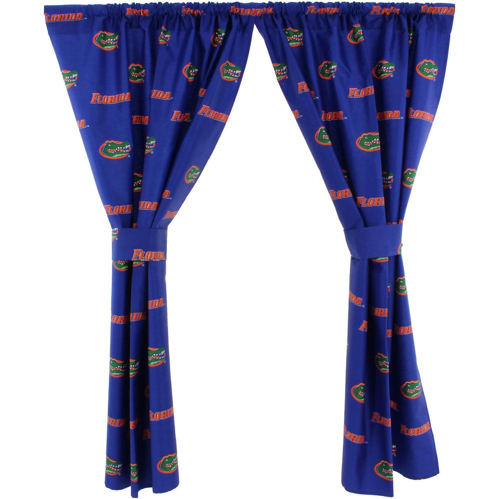 College Covers 42 in. W x 63 in. L  Florida Gators Cotton With Tie Back Curtain in Blue  (2 Panels)