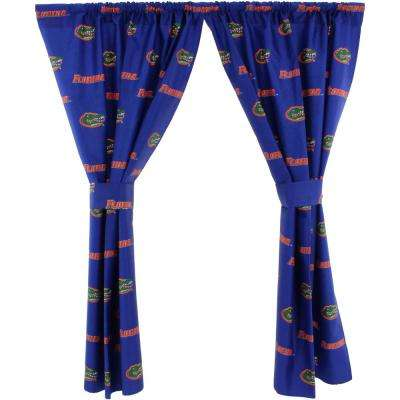 42 in. W x 63 in. L  Florida Gators Cotton With Tie Back Curtain in Blue  (2 Panels)