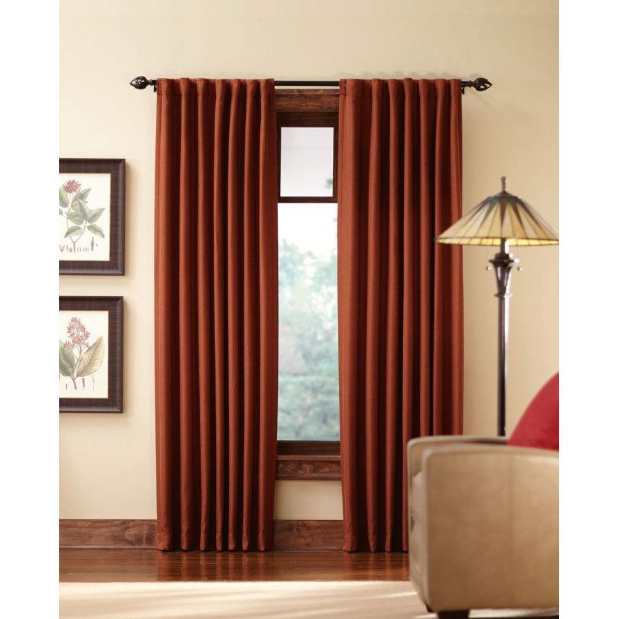 Home Decorators Collection Blackout Terracotta Tweed Room Darkening Back  Tab Curtain 50 X 95