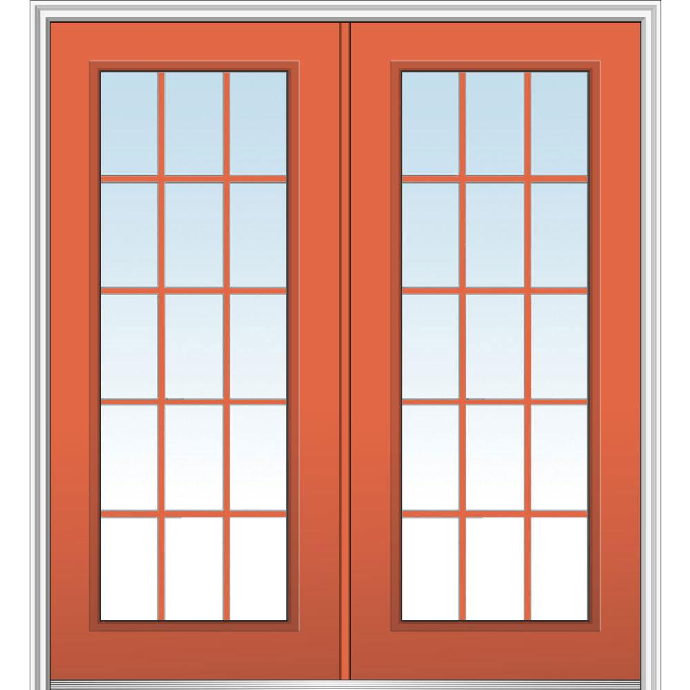 MMI Door 64 in. x 80 in. Classic Right-Hand Inswing 15-Lite Clear Painted Fiberglass Smooth Prehung Front Door with Brickmould