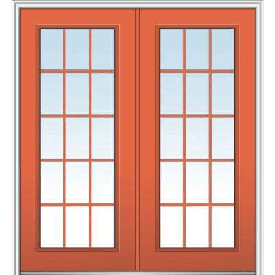 64 in. x 80 in. Classic Left-Hand Inswing 15-Lite Clear Painted Fiberglass Smooth Prehung Front Door with Brickmould
