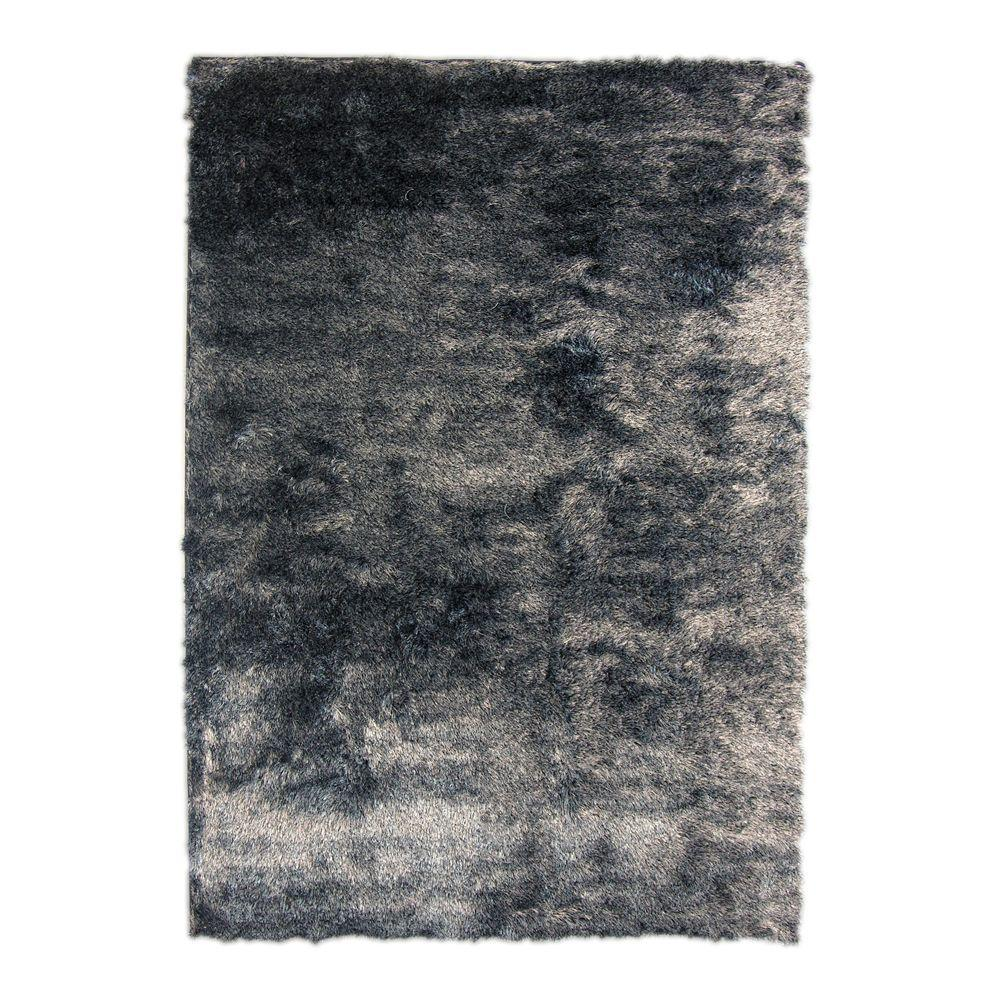 Home Decorators Collection So Silky Salt and Pepper Polyester 8 ft. x 10 ft. Area Rug