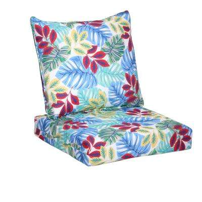 Multi Tropical 2-Piece Deep Seating Outdoor Lounge Chair Cushion