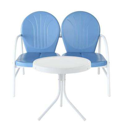Griffith 2-Piece Metal Outdoor Conversation Seating Set - Loveseat and Table in Sky Blue