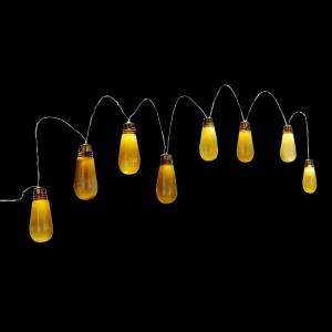 8-Light Old Fashioned Bulb String Lights with Flickering Lights and Sound