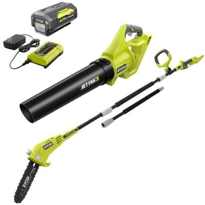 110 MPH 500 CFM 40-Volt Lithium-Ion Jet Fan Leaf Blower and 10 in. 40-Volt Pole Saw w/4.0Ah Battery & Charger Included