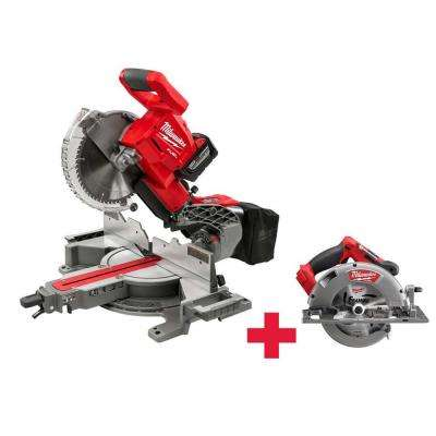 M18 FUEL 18-Volt Lithium-Ion Cordless Brushless 10 in. Dual Bevel Sliding Compound Miter Saw Kit with Free FUEL Circ Saw
