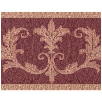 Abstract Damask Beige Vines Garnet Red Prepasted Wallpaper Border