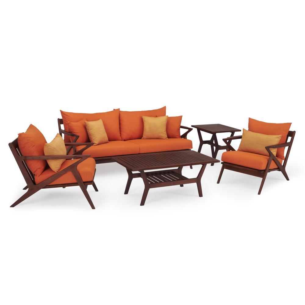 Vaughn 5-Piece Wood Patio Conversation Set with Sunbrella Tikka Orange Cushions
