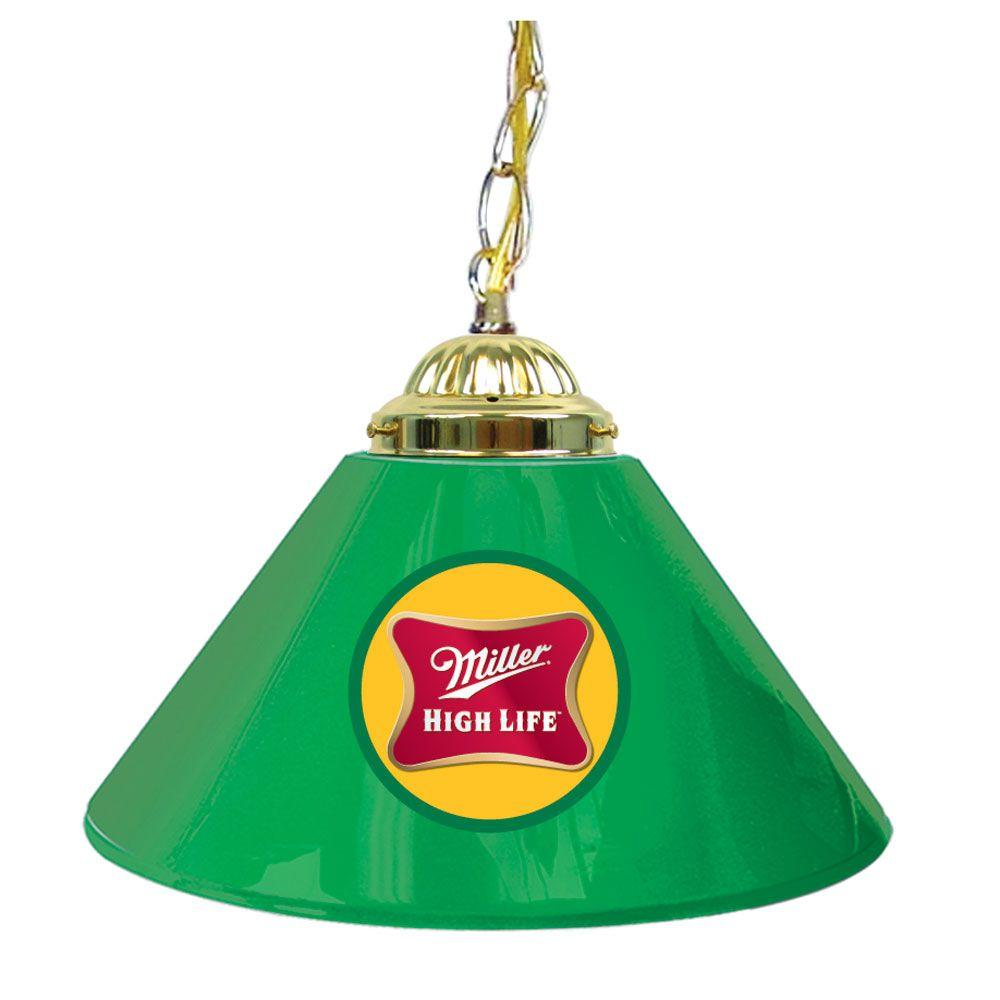 Trademark Global Miller High Life 14 in. Single Shade Green and Brass Hanging Lamp