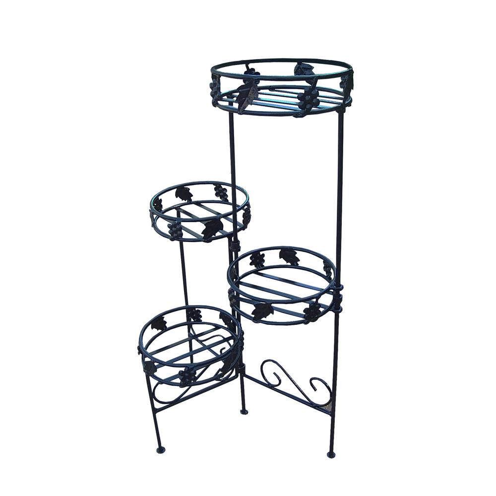 Foldable Plant Stand W 4 Pot Holders Hd6028 Bk The Home Depot