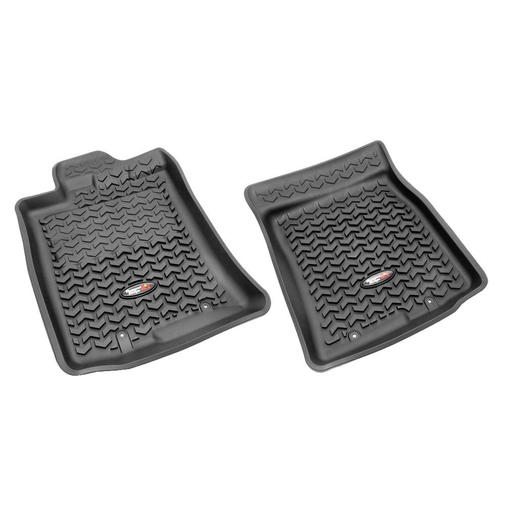 Rugged Ridge Floor Liner Front Pair Black 2007-2011 Toyota FJ Cruiser with Hook