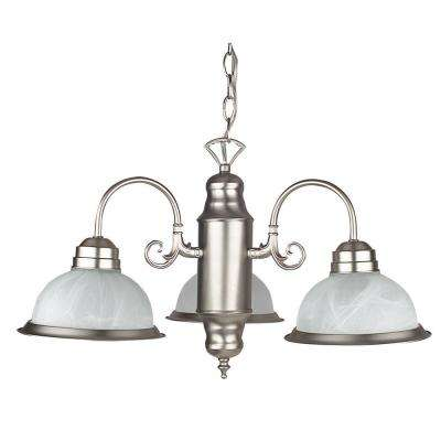 Grayson 21.5 in. 3-Light Satin Nickel Chandelier