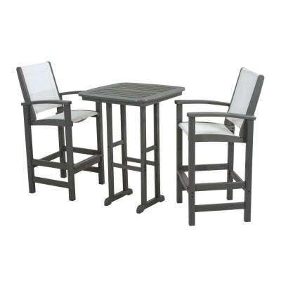 Coastal Slate Grey All-Weather Plastic Outdoor Bar Set in White Slings