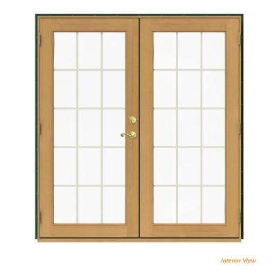 72 in. x 80 in. W-2500 Green Clad Wood Right-Hand 15 Lite French Patio Door w/Stained Interior