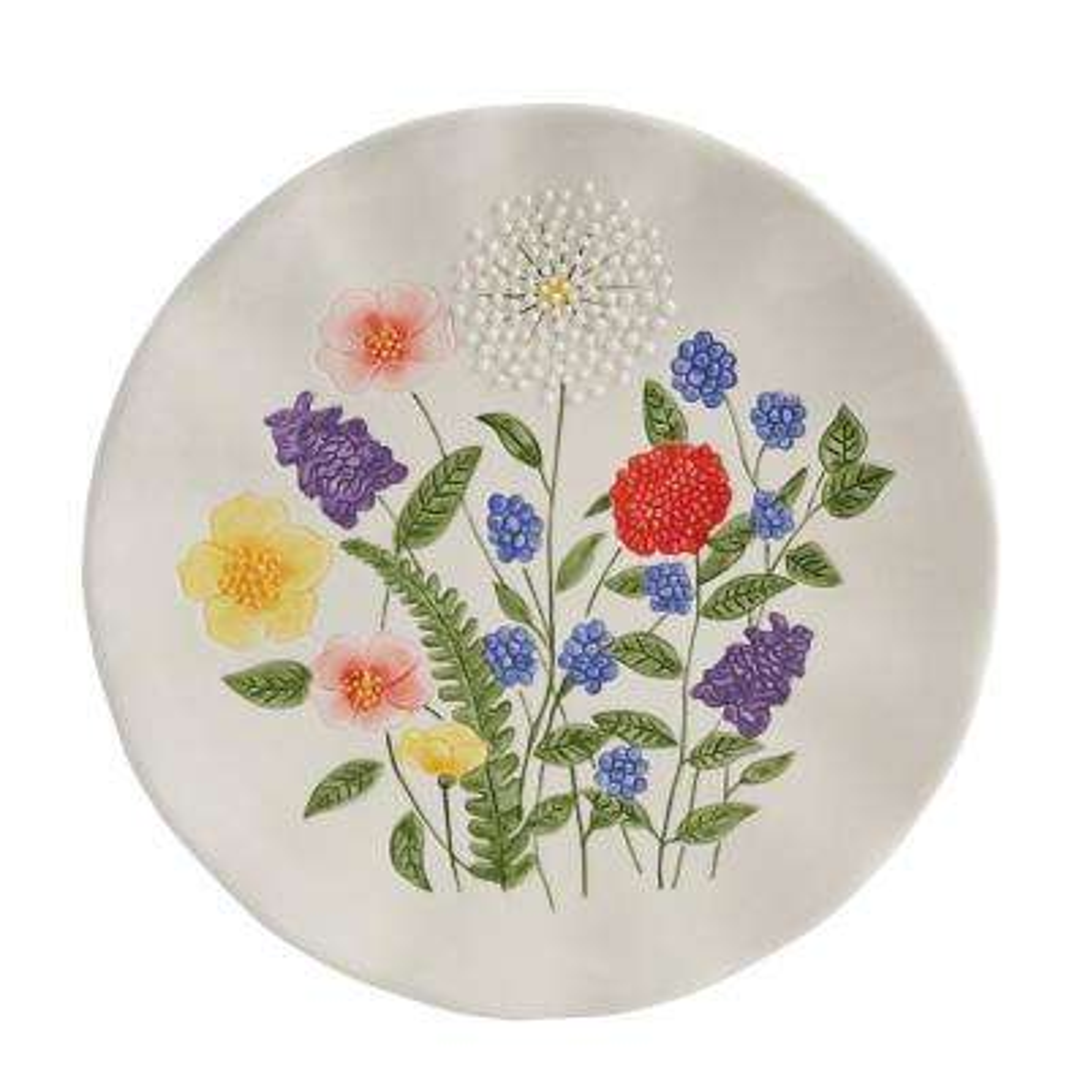 Garden Flower White Salad Plate (Set of 4)