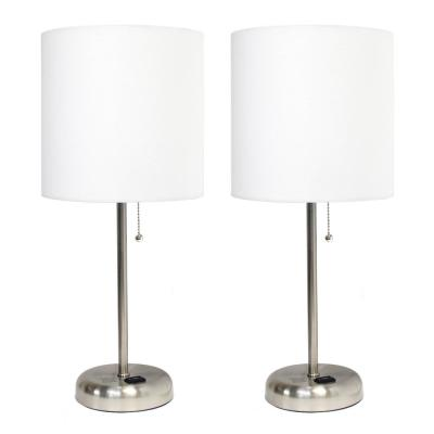 19.5 in. Brushed Steel Stick Lamp with Charging Outlet and Fabric Shade 2 Pack Set, White