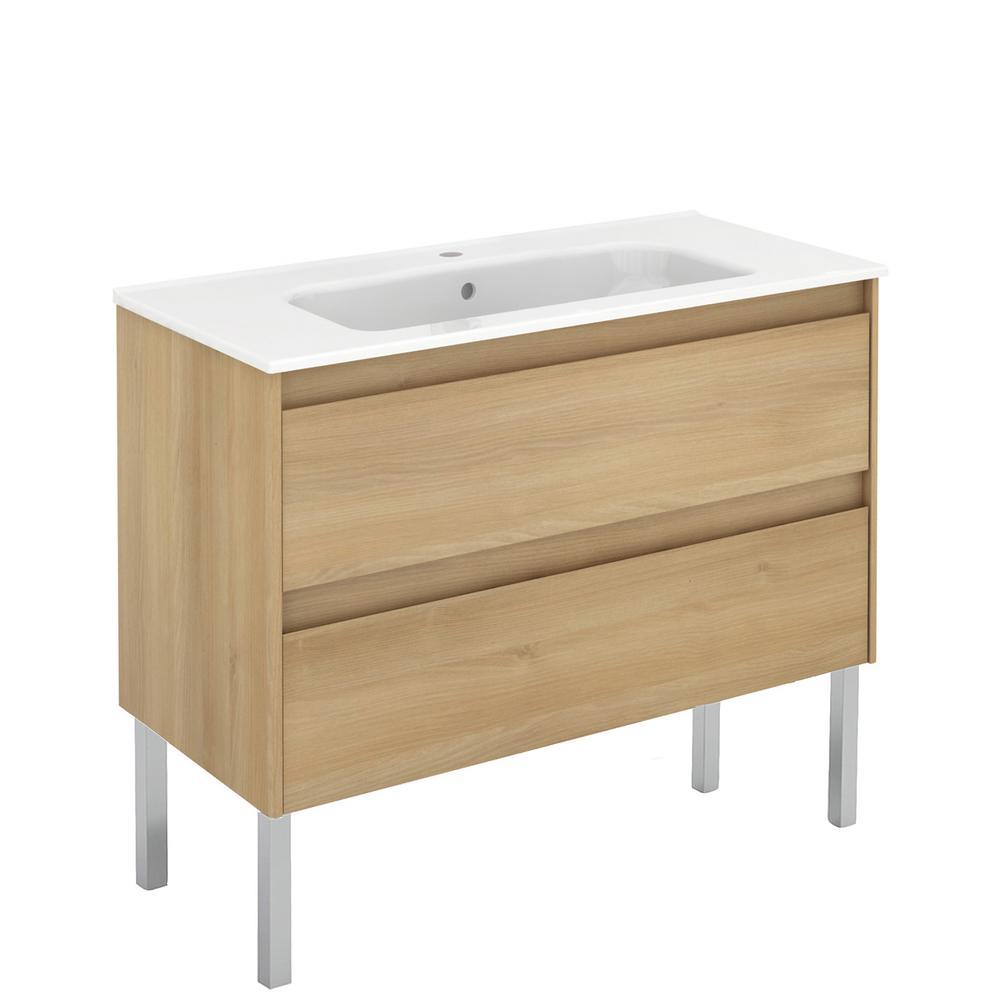 Ambra 39.8 in. W x 18.1 in. D x 32.9 in. H Bathroom Vanity Unit in Nordic Oak with Vanity Top and Basin in White