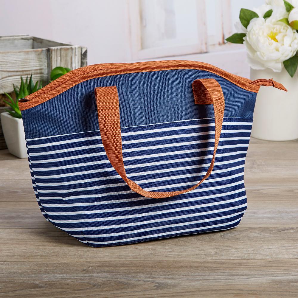 5af5124f08ca Samantha Navy Nautical Stripe Insulated Lunch Bag