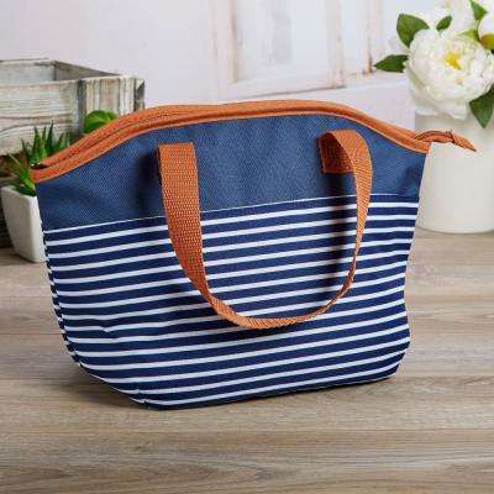 Samantha Navy Nautical Stripe Insulated Lunch Bag