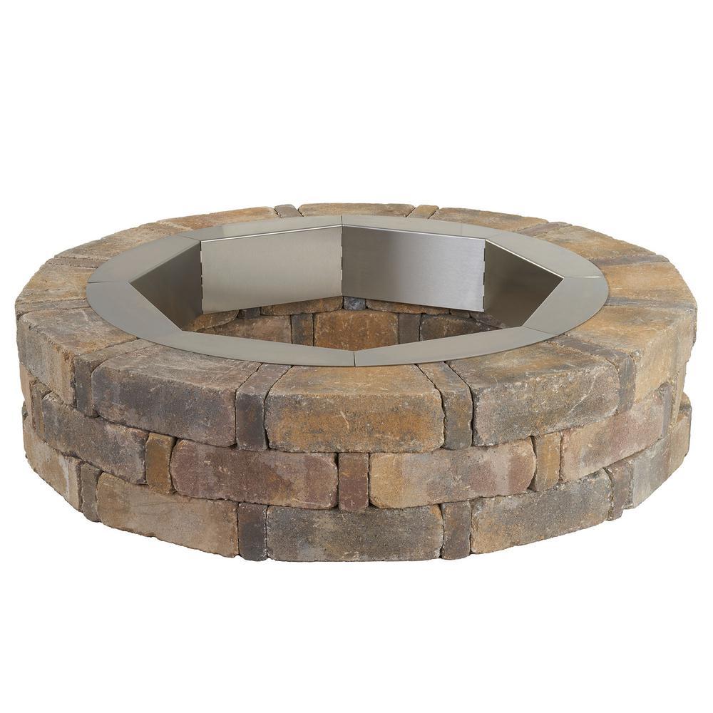 Pavestone RumbleStone 46 in. x 10.5 in. Round Concrete Fire Pit Kit No. 1 in Sierra Blend with Round Steel Insert