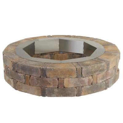 RumbleStone 46 in. x 10.5 in. Round Concrete Fire Pit Kit No. 1 in Sierra Blend with Round Steel Insert