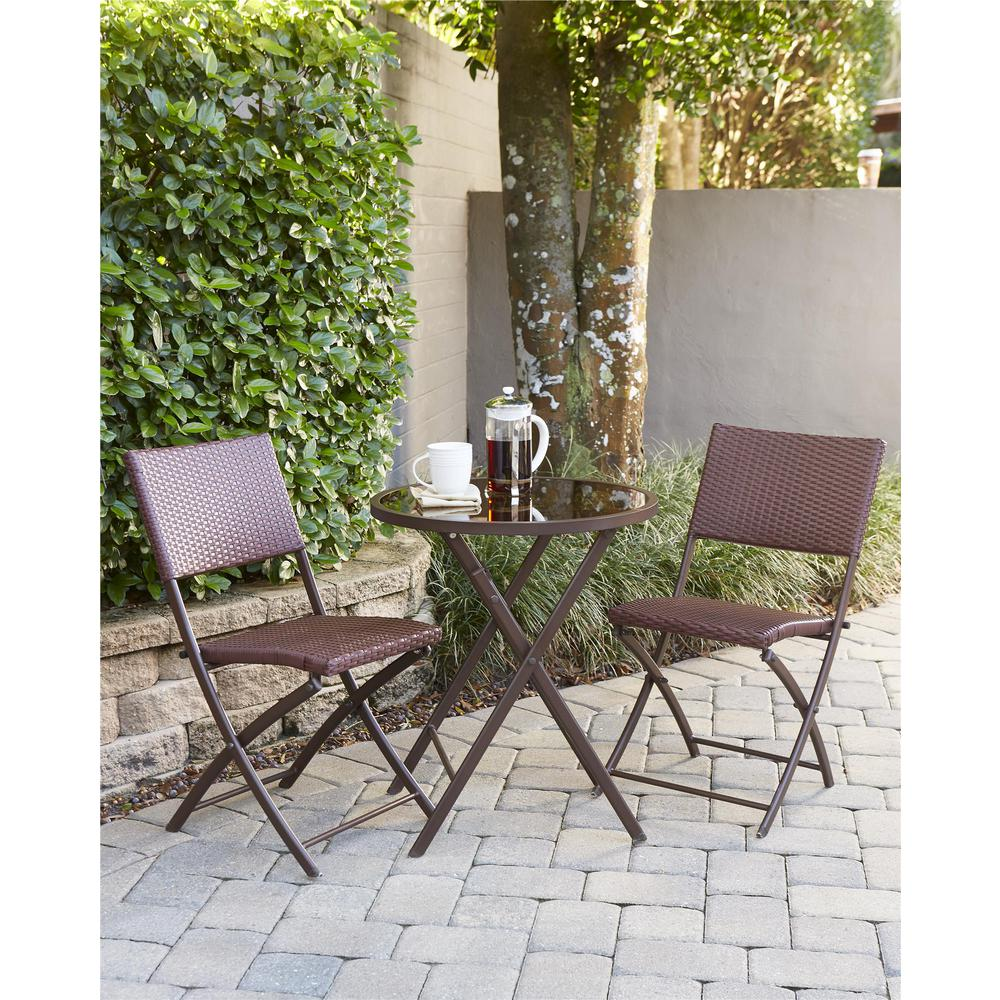 Cosco Delray Transitional 3 Piece Steel Dark Brown Red Woven Wicker Dining Height Folding