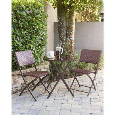 Delray Transitional 3-Piece Steel Dark Brown & Red Woven Wicker Dining Height Folding Patio Bistro Set