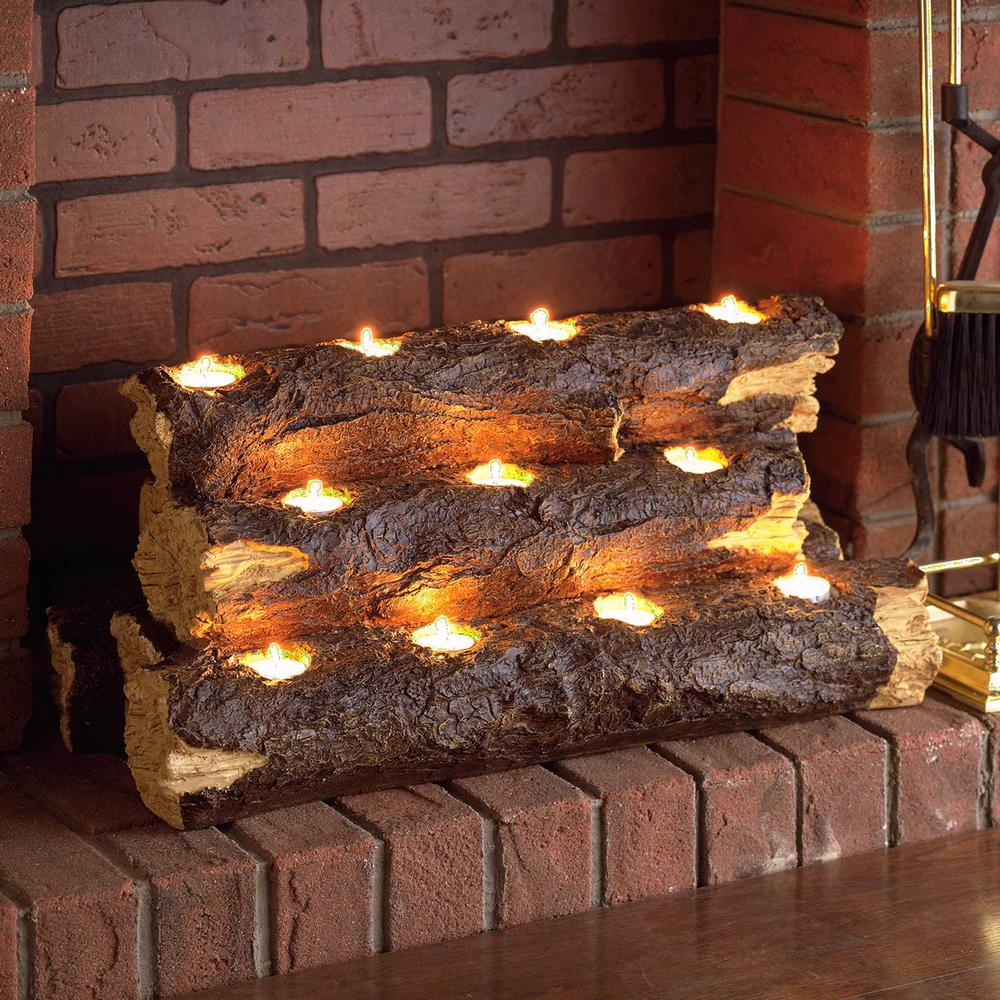 Southern Enterprises Resin Tealight Fireplace Log Candle Holder