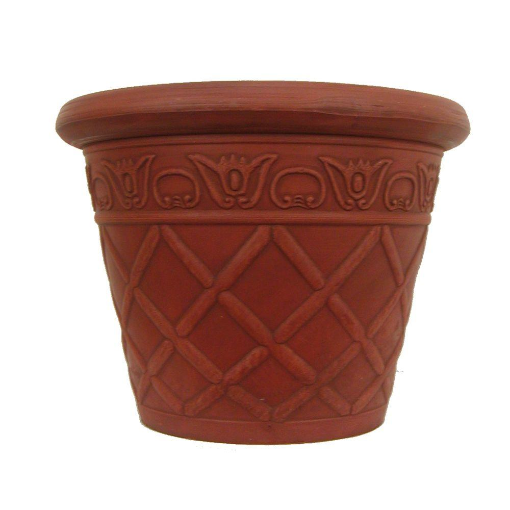 Pride Garden Products 16 in. Round Terra Cotta Lattice Plastic Planter (2-Pack)