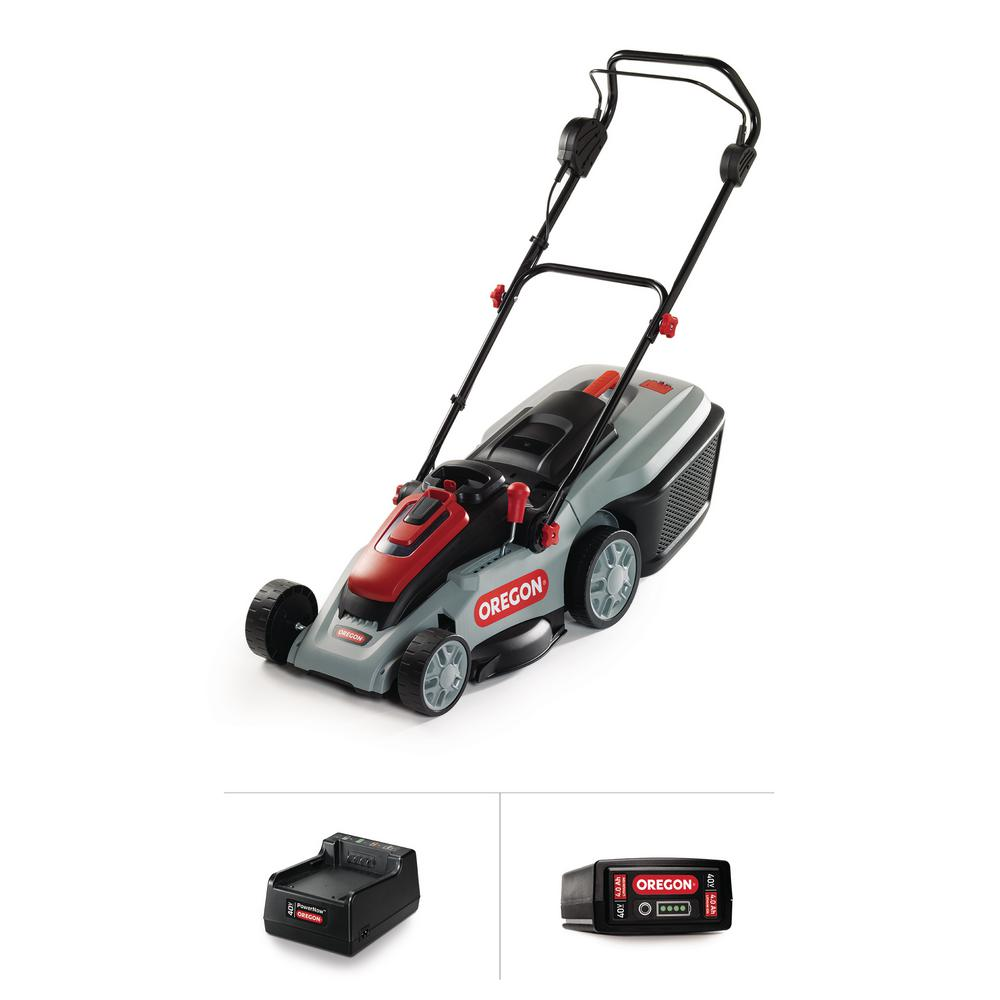 Oregon 16 in. 40-Volt Brushless Lithium-Ion Cordless Battery Walk Behind Push Lawn Mower with 4.0 Ah Battery and Charger