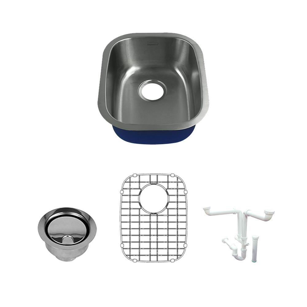 Meridian All-In-One Undermount Stainless Steel 18.5 in. Single Bowl Kitchen Sink